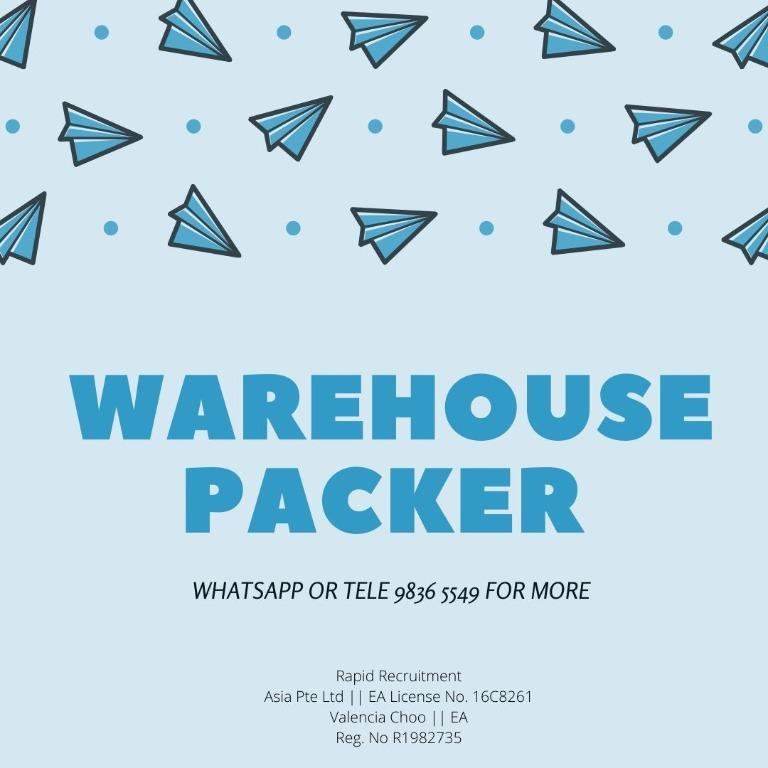 WAREHOUSE PACKER (WEST AREA | $8/HR | 2 WEEKS PAYMENT)