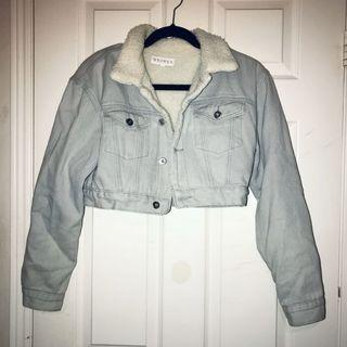 Meshki crop fur denim jacket
