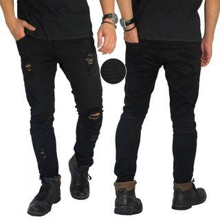 JEANS BIKER THIGH AND KNEE RIPPED BLACK
