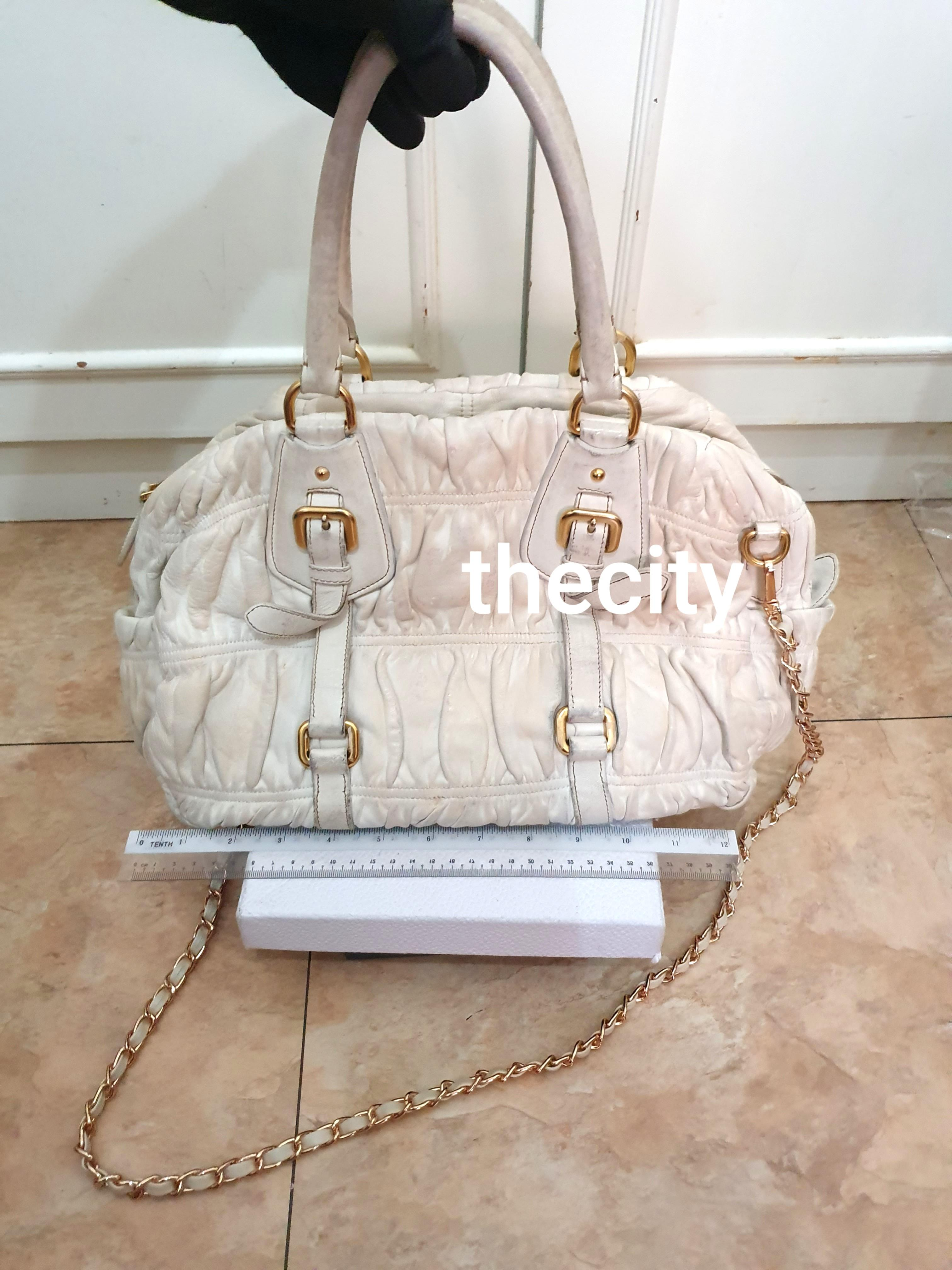 AUTHENTIC PRADA WHITE NAPPA GAUFRE LEATHER TOTE - WITH EXTRA ADD ON STRAP FOR CROSSBODY SLING - GOLD HARDWARE - PRADA BAG CHARM TAG INTACT