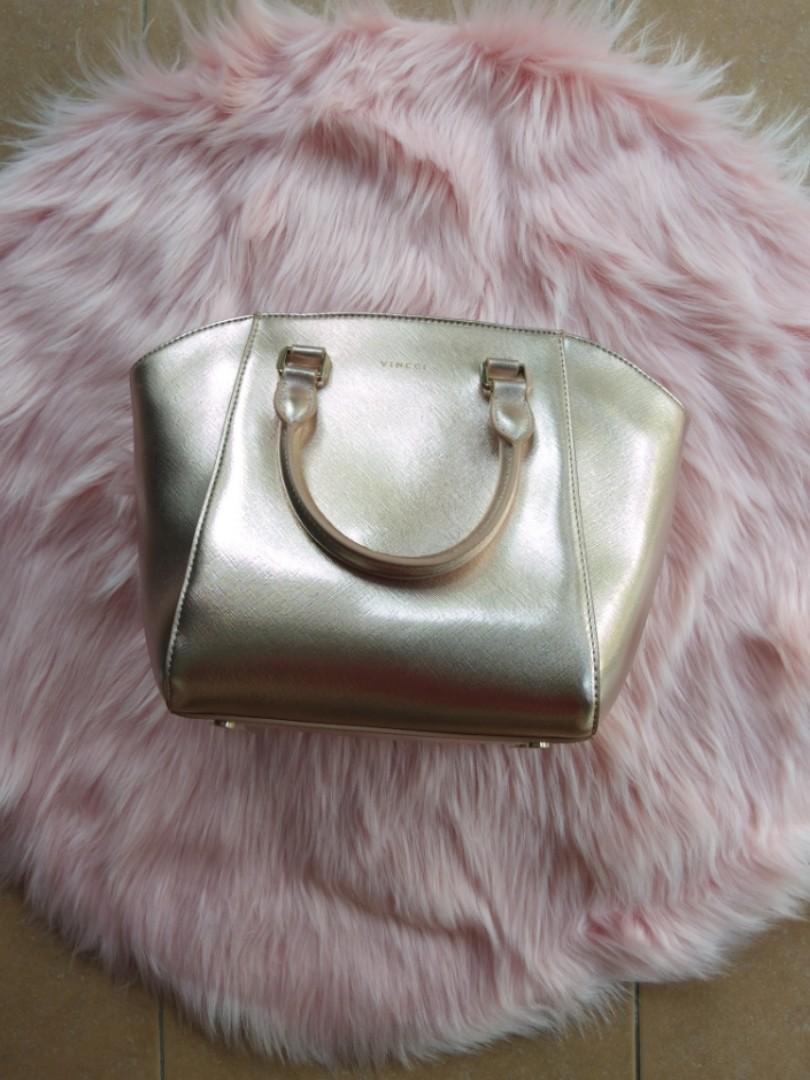 [BNWT] Vincci Padini Rose Gold Champagne Pink Top Handle Sling Tote Messenger Hand Bag
