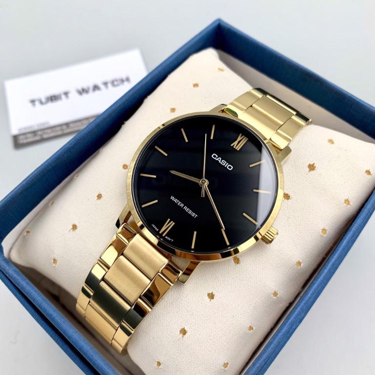 Casio MTP-VT01G-1B & LTP-VT01G-1B Couple Analog Classic Black Dial Gold Stainless Steel Strap Original Casual Watch