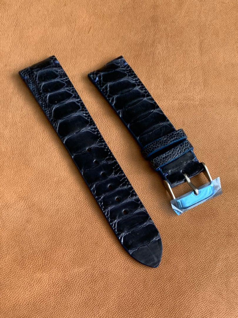 20mm/18mm Dark Blue Ostrich Leg (central grains) Leather Watch Strap (only 1 piece, once sold no more 🙏🏻😊) standard length : L-120mm, S-75mm