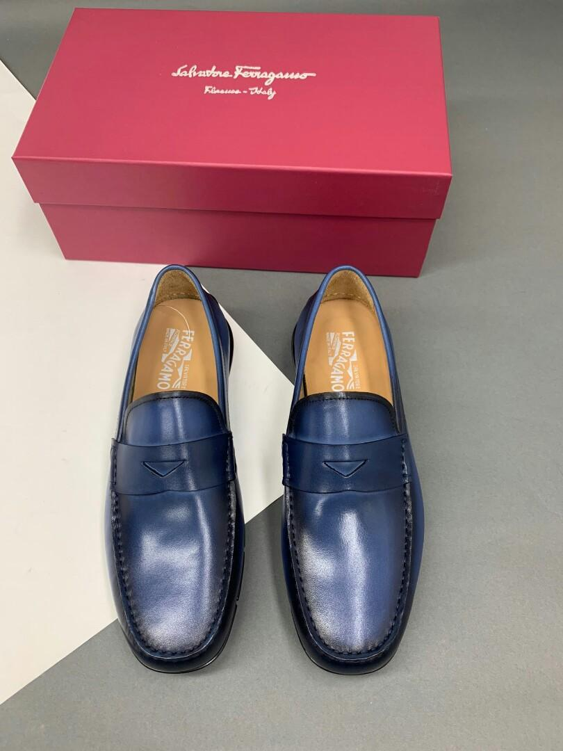 Powder-blue ferragamo latest update the arrival of the manual brush color leather surface with special sole leather inside the car line shoe surface laser brand normal code code physical effect is better