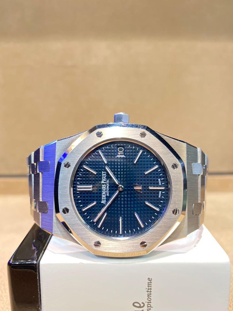 """Pre Owned Audemars Piguet Royal Oak 15202ST """"Jumbo"""" Blue Dial Automatic Steel Casing Bracelet"""