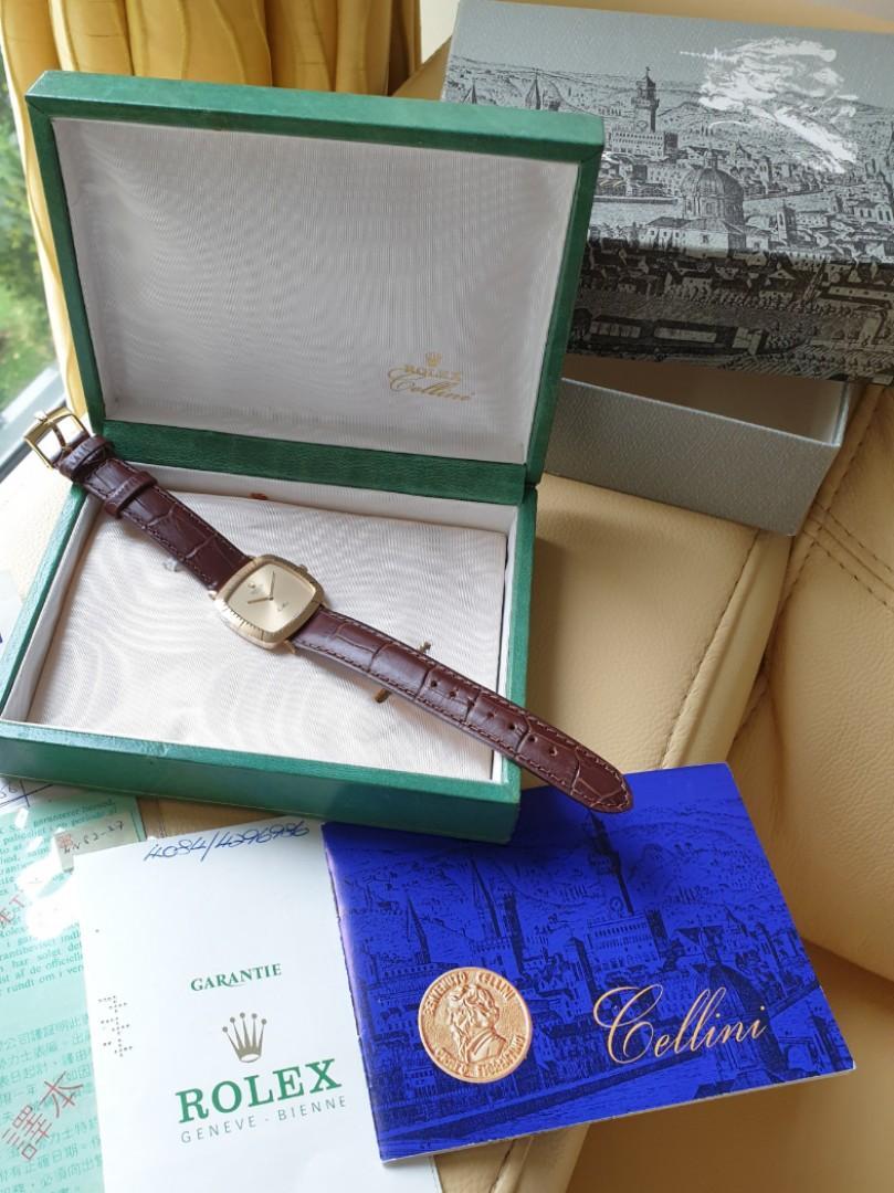 Rolex Cellini 18k Yellow Gold Brown Leather Strap -4084 Ladies/Mens - Rare Full Box Cert Set!                                                          Rolex Tudor Cartier Omega Iwc AP Chopard