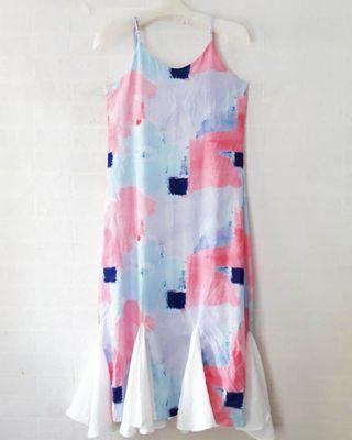 KOREAN Watercolour Pastel Ruffles Dress