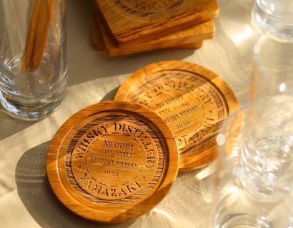 YAMAZAKI 日本山崎 JAPAN Suntory Whisky 威士忌木桶 木制杯墊 + 調酒棒 連禮物袋套裝 Made in Japan