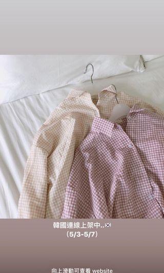 (韓製✨)Louis杏色格紋襯衫