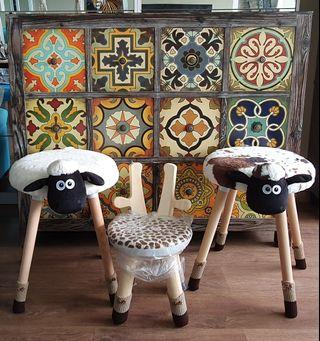 Wooden Motley Sheep Stool / Dressing Table Chair c/w Carpet