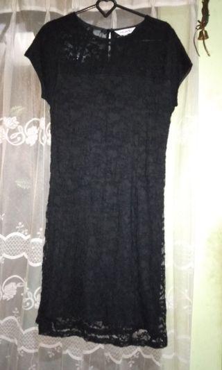 Brukat black dress mint / gaun hitam