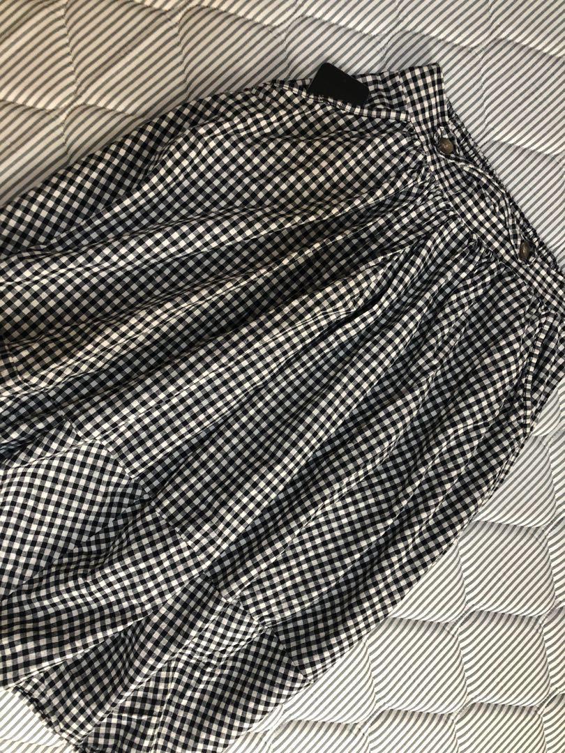 日系黑白格子長裙!