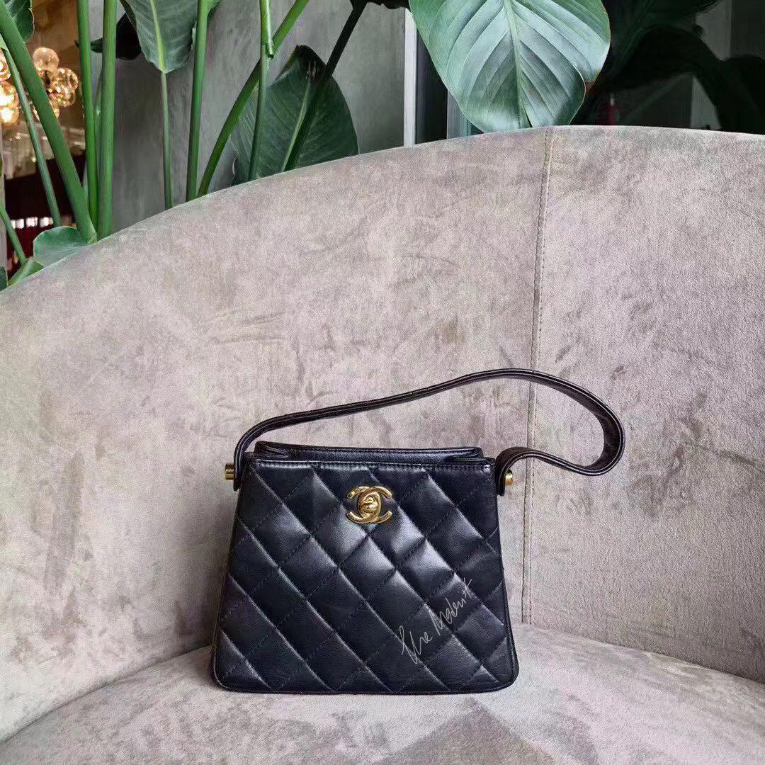 Authentic Chanel Classic Small Handbag Black Quilted Leather Gold Hardware
