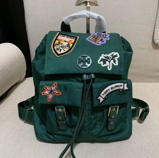 Authentic Tory Burch women nylon backpack with patch design light wear hb
