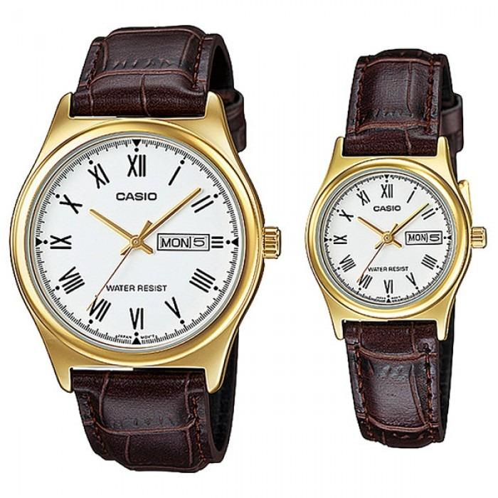 Casio MTP-V006GL-7B & LTP-V006GL-7B Couple Analog Date Day Functioning Classic White Dial Gold Case Brown Leather Band Original Casual Watch