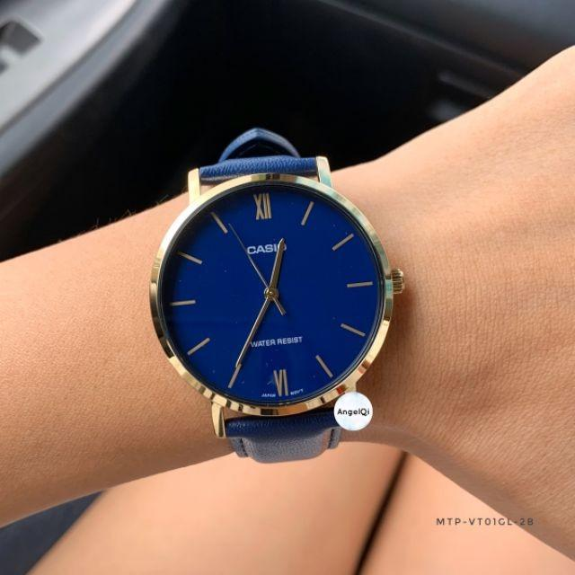 Casio MTP-VT01GL-2B Men Analog Classic Blue Dial Gold Case Blue Leather Band Original Casual Watch MTP-VT01GL