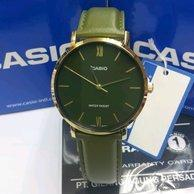 Casio MTP-VT01GL-3B Men Analog Classic Dark green Dial Gold Case Green Leather Band Original Casual Watch MTP-VT01GL