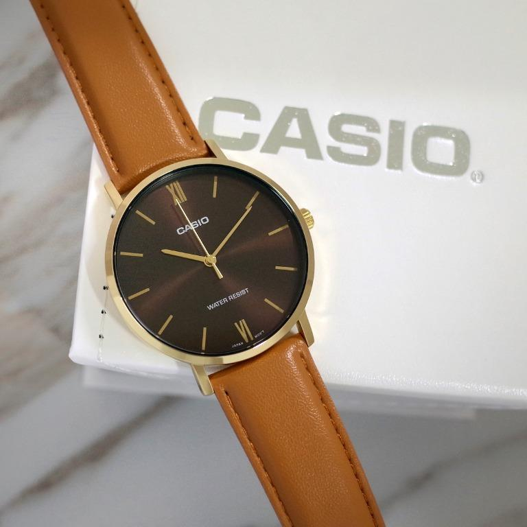 Casio MTP-VT01GL-5B Men Analog Classic Dark Brown Dial Gold Case Brown Leather Band Original Casual Watch MTP-VT01GL