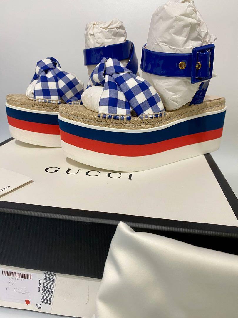 Gucci - Blue Crisscross-strap Gingham Platform Sandals - Please Check Below For Available Sizes