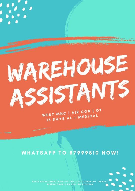 Logistic Assistants @ West ($98/day, Air-Con, Start ASAP)