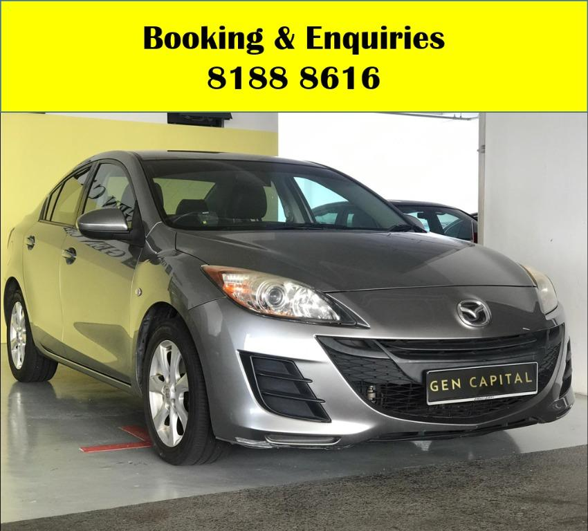 Mazda 3  LUCKY THURSDAY!! FREE Petrol Voucher & FREE rental for new signups! Fuel efficient and Spacious car in Super condition! $500 Deposit driveaway immediately! Whatsapp 8188 8616 now to enjoy special rates!!