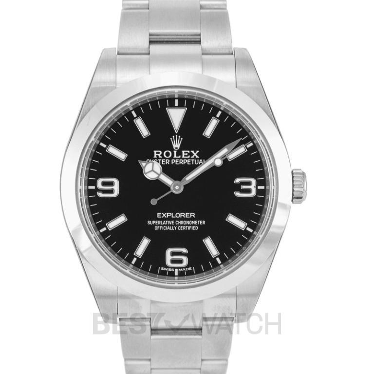 [NEW] Rolex Rolex Explorer Black Dial Stainless Steel Oyster Bracelet Automatic Men's Watch 214270BKASO 214270 2016