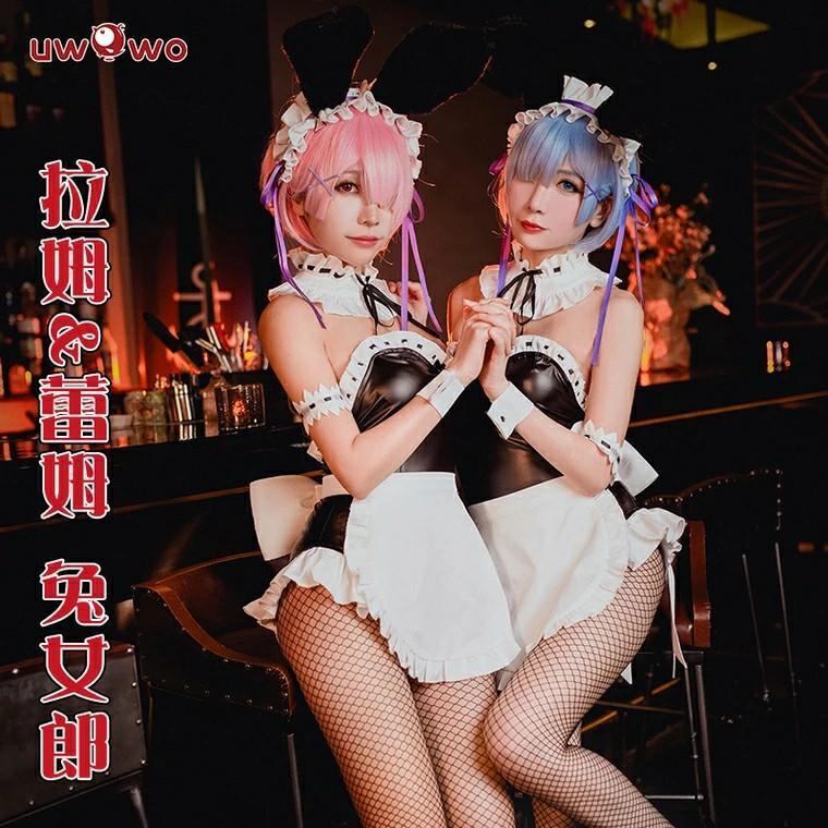 現貨Uwowo悠窩窩從零開始的異世界生活cosplay蕾姆拉姆兔女郎cos