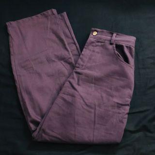 紫色 鬆緊 直筒褲