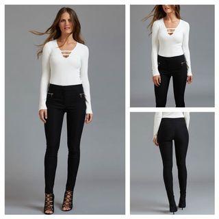 Dynamite Brand Kate Skinny Pant with Zips in Jet Black - Size 4