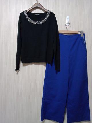 (日牌)黑領縫珠亮片上衣
