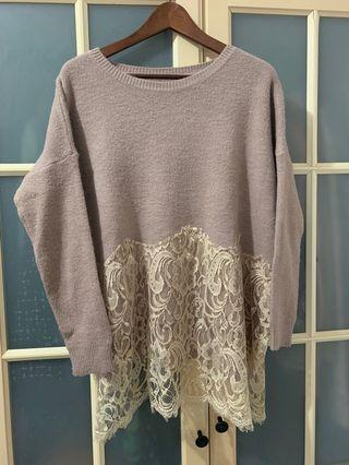 寬鬆長版落肩乾燥玫瑰色蕾絲毛衣,大尺碼可穿