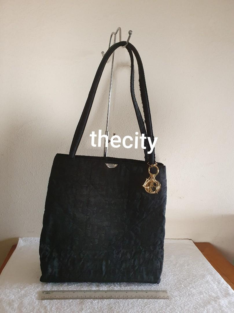 AUTHENTIC DIOR , LADY DIOR QUILTED SHOULDER BAG- BLACK CANVAS - D-I-O-R HARDWARE CHARMS INTACT - CLEAN INTERIOR & POCKETS - HANDLES SEASONED