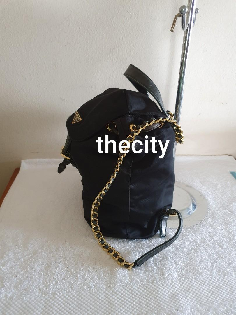 AUTHENTIC PRADA CHAIN SHOULDER STRAP NYLON CANVAS BACKPACK - BLACK - RARE GOLD CHAIN STRAP DESIGN , EXTREMELY HARD TO SOURCE IN RESALE MARKET - CLEAN INTERIOR