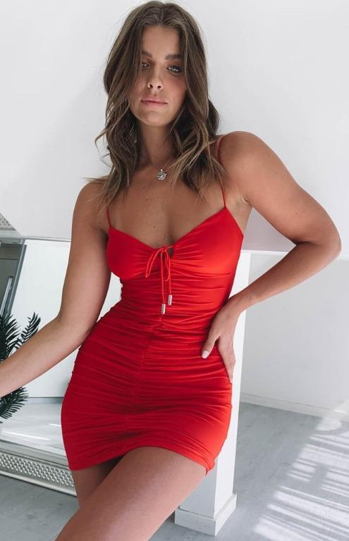 Beginning Boutique Red Tie Front Ruched Bodycon Mini Dress