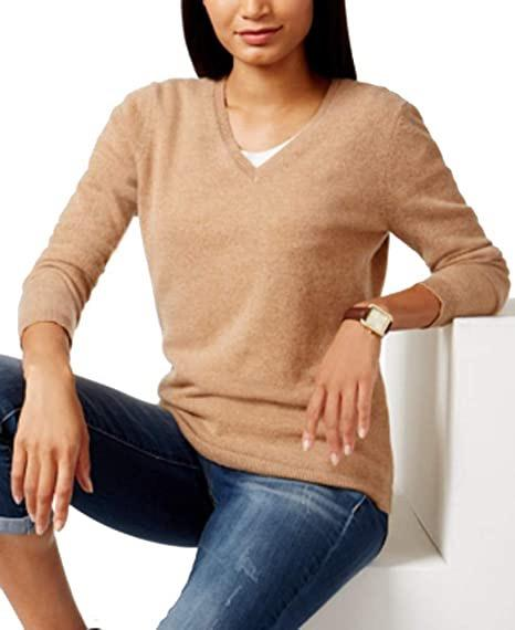 Charter Club Cashmere V-Neck Sweater in Heather Camel - Size M