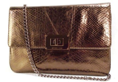 Michael Kors Sloan Cocoa Brown Python Leather Chain Clutch Bag