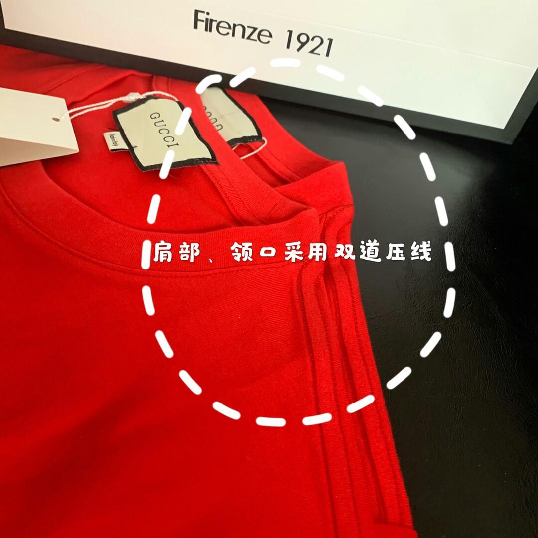 Original Gucci -Number classic red sign do old square graffiti printing shirt do old water printing paste pure cotton
