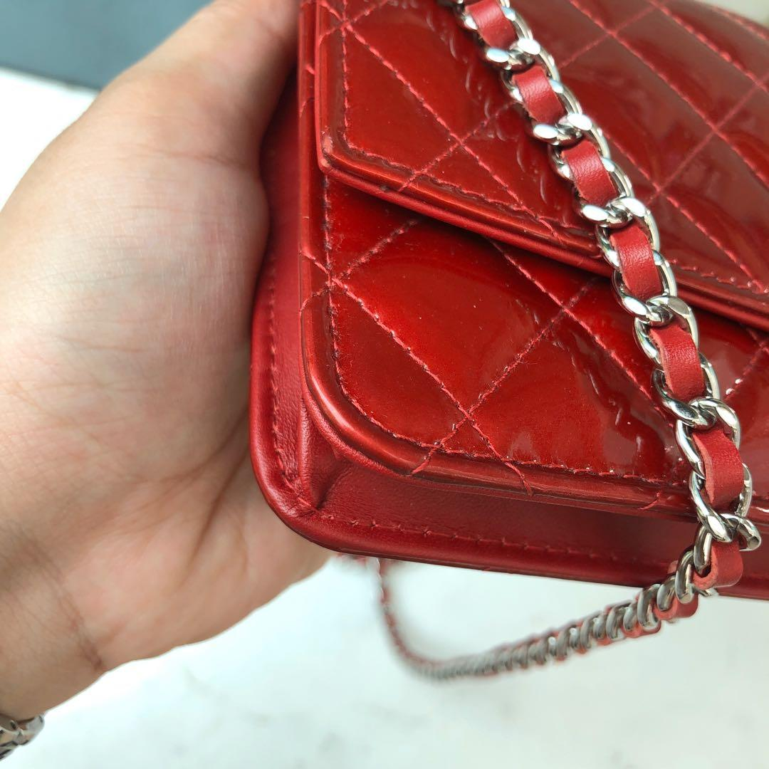 ✖️SOLD in a heartbeat!✖️ Super Good Deal! Chanel Large CC Wallet on Chain (WOC) in Red Patent Leather SHW