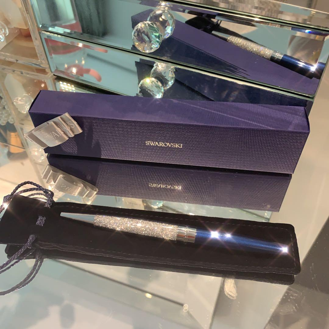 Swarovski Pen 🖊 Special Edition 125th Anniversary, Crystalline Ballpoint Pen, Royal Blue Glitter Chrome Plated