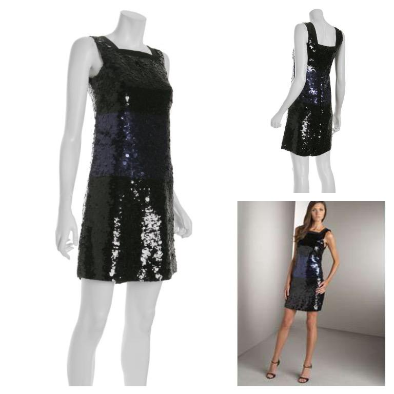 Vera Wang Lavender Label Black Sequined Silk Shift Dress - Size 6