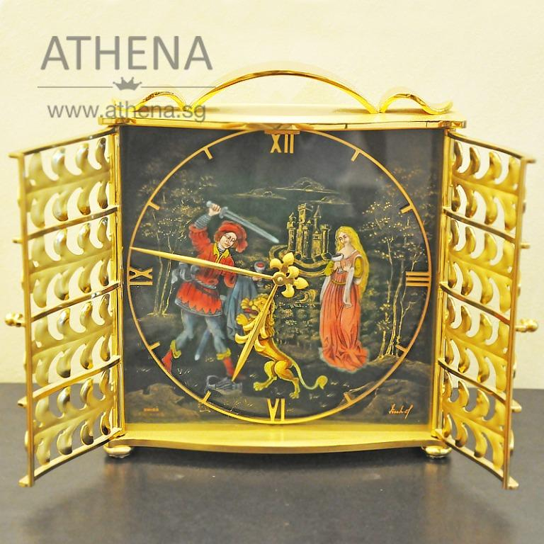 VINTAGE ENAMEL AND BRASS BOUDOIR TABLE CLOCK BY IMHOF (COLLECTIBLE TIMEPIECE) CALL FOR PRICING !!! JGOTH_001