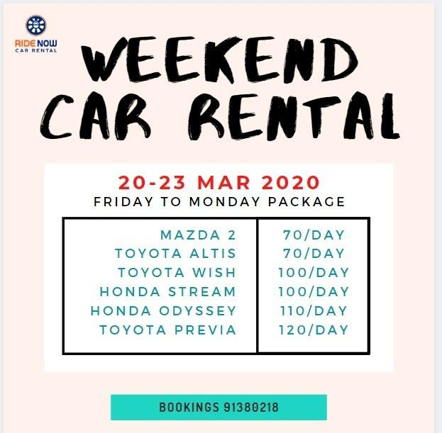 Weekend Rental 20 - 23 Mar Affordable / Reliable vehicles for rental!