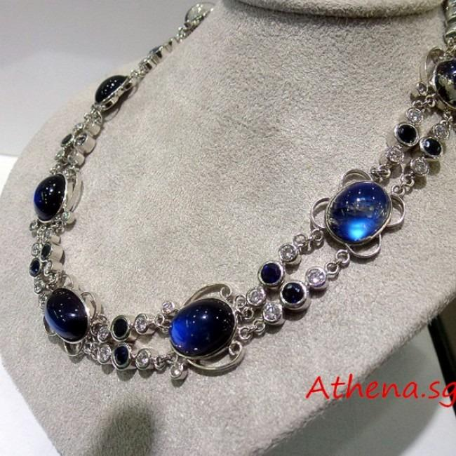 WL_DC_008 JEWELLERY NATURAL LABRADORITES (FELDSPAR) WITH SAPPHIRE & DIAMOND SETTING IN 18K WHITE GOLD NECKLACE [WITH CERT] 50.65G