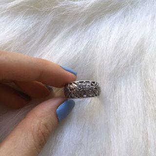 純銀花紋戒指