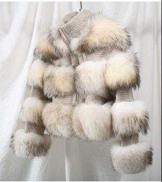 White fox fur with wool jacket