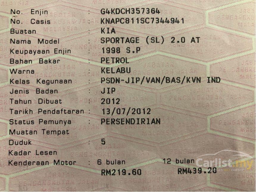 2012 Kia Sportage 2.0 SL (A) One Owner Kia Service Record