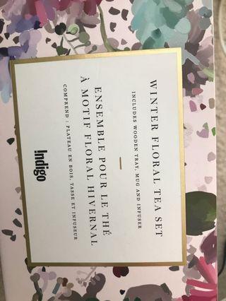 BNIB indigo floral tea set