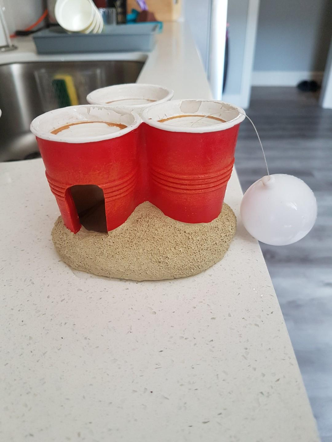 Aquarium Ornament/Decoration: Fish Hide Home, Beer Pong Cups with Floating Ball