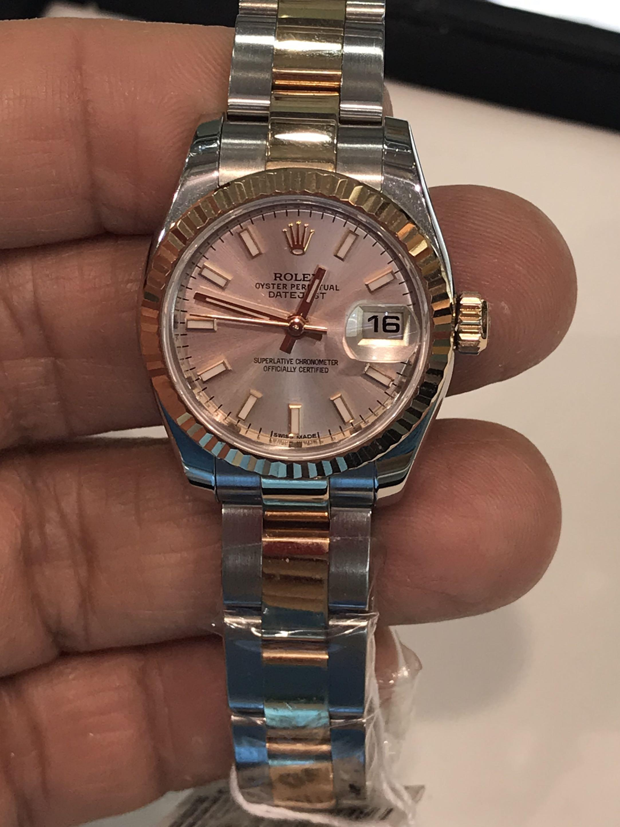 CLEARANCE SALES {Luxury Dress Watch - ROLEX} Authentic Half Gold ROLEX Ladies OYSTER PERPETUAL DATEJUST SUPERLATIVE CHRONOMETER OFFICIAL CERTIFIED 26mm Pink Dial Model 179171 Come With Original 18K Gold Bezel & Half Gold Jubilee Bracelet - Best Buy