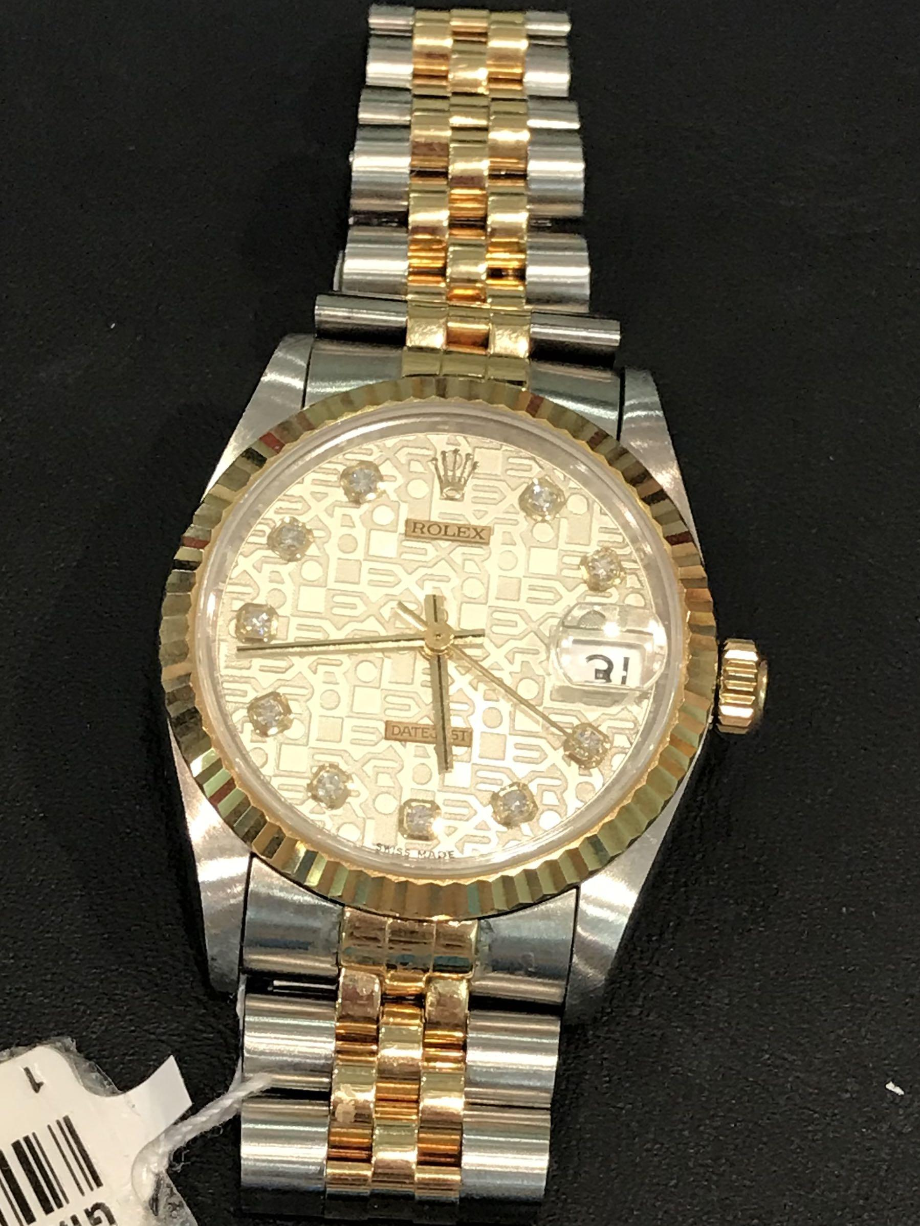 CLEARANCE SALES {Luxury Dress Watch - ROLEX} Authentic Half Gold ROLEX Boy OYSTER  DateJust 31mm Computer Dial With Diamonds Model 68273 Come With Original 18K Solid Gold Bezel & Half Gold Bracelet